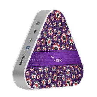 Personalized name purple poker chips speaker