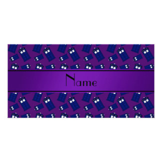 Personalized name purple police box picture card
