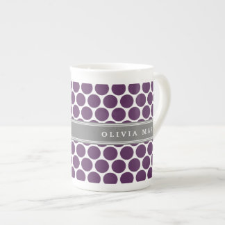 Personalized Name Purple Polka Dots Pattern Tea Cup