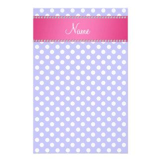 Personalized name purple polka dots pink stripe stationery