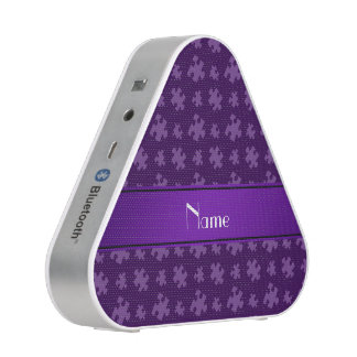 Personalized name purple puzzle bluetooth speaker