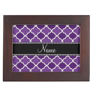Personalized name Purple quatrefoil pattern Memory Boxes