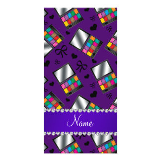 Personalized name purple rainbow eyeshadow picture card