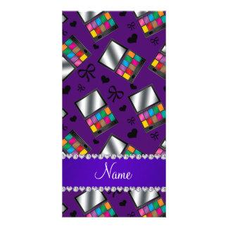 Personalized name purple rainbow eyeshadow photo card
