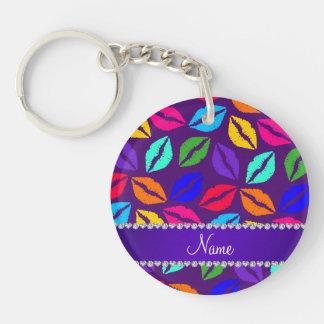 Personalized name purple rainbow lipstick kisses Double-Sided round acrylic keychain