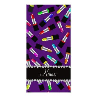 Personalized name purple rainbow lipstick personalized photo card