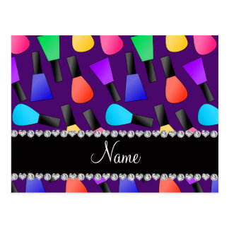 Personalized name purple rainbow nail polish postcard