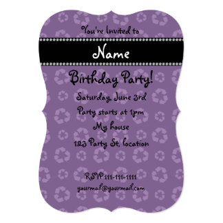 """Personalized name purple recycling pattern 5"""" x 7"""" invitation card"""