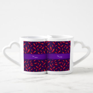 Personalized name purple red chili pepper lovers mugs
