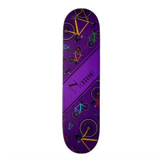 Personalized name purple road bikes skate board decks
