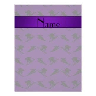 Personalized name purple ski pattern custom flyer