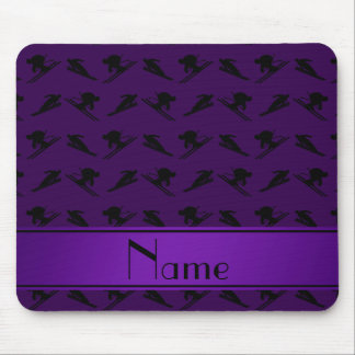 Personalized name purple ski pattern mousepad