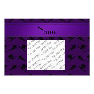 Personalized name purple ski pattern photographic print