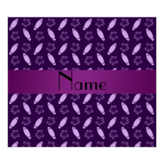 Personalized name purple surfboard pattern poster