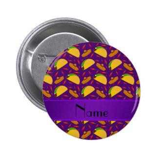 Personalized name purple tacos sombreros chilis 6 cm round badge
