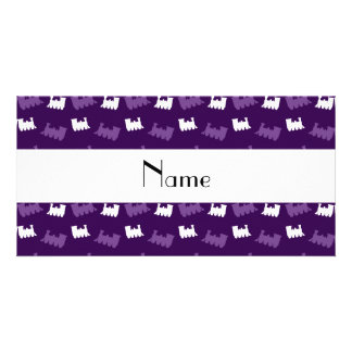 Personalized name purple train pattern picture card