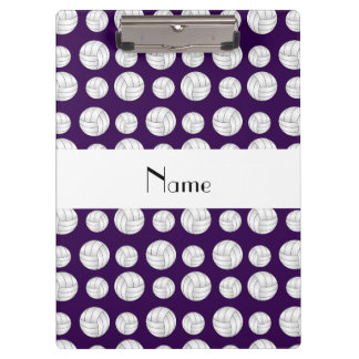 Personalized name purple volleyball balls clipboard
