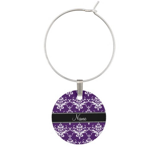 Personalized name purple white damask wine charm