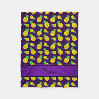 Personalized name purple yellow pineapples fleece blanket