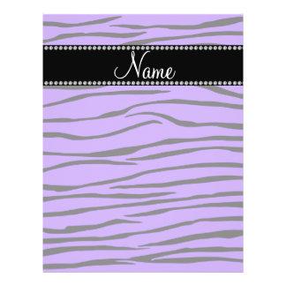 Personalized name purple zebra stripes flyers