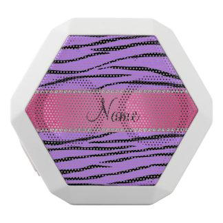 Personalized name purple zebra stripes pink stripe white boombot rex bluetooth speaker