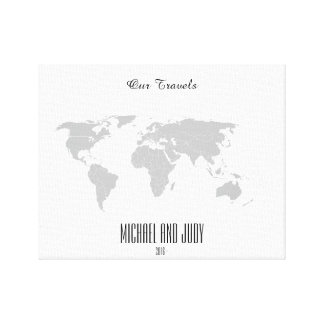 Personalized Name Push Pin World Map - Our Travels Canvas Print
