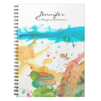 Personalized Name, quote, water paint design Notebook
