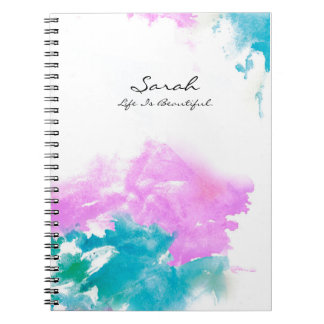 Personalized Name, quote, water paint design Notebooks