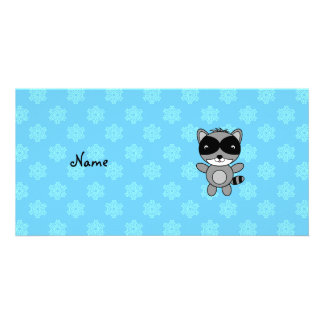 Personalized name raccoon blue snowflakes photo cards