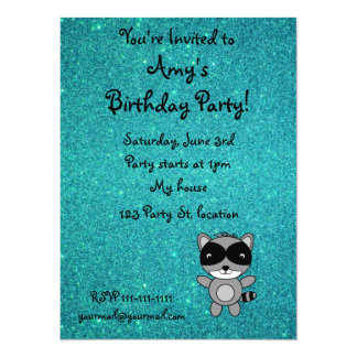 Personalized name raccoon turquoise glitter 5.5x7.5 paper invitation card