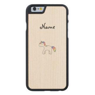 Personalized name Rainbow baby unicorn Carved® Maple iPhone 6 Case