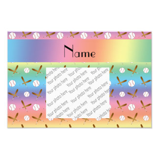 Personalized name rainbow baseball photo