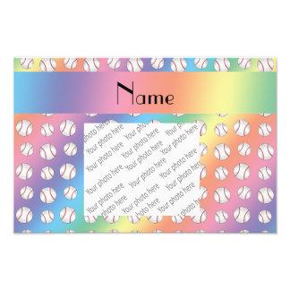 Personalized name rainbow baseballs pattern photo
