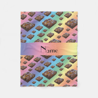 Personalized name rainbow brownies fleece blanket