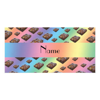 Personalized name rainbow brownies custom photo card