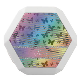 Personalized name rainbow butterflies white boombot rex bluetooth speaker