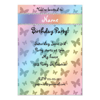 Personalized name rainbow butterflies magnetic invitations