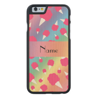 Personalized name rainbow cotton candy carved® maple iPhone 6 slim case