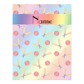 Personalized name rainbow cricket pattern 21.5 cm x 28 cm flyer