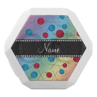 Personalized name rainbow crochet pattern white boombot rex bluetooth speaker