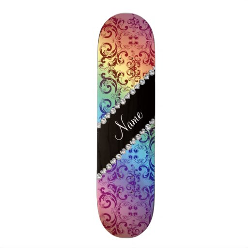 Personalized name rainbow damask swirls skate board deck
