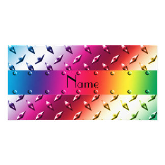 Personalized name rainbow diamond plate steel photo card template
