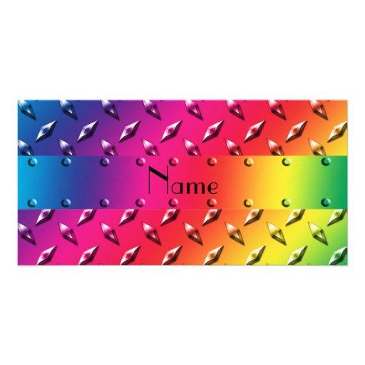 Personalized name rainbow diamond plate steel custom photo card