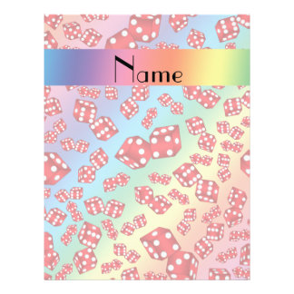 Personalized name rainbow dice pattern 21.5 cm x 28 cm flyer