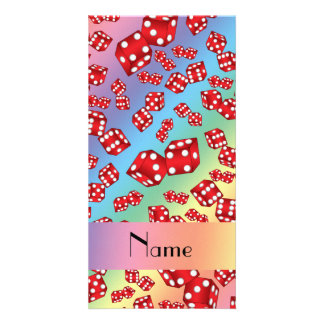 Personalized name rainbow dice pattern picture card
