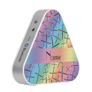 Personalized name rainbow field hockey pattern bluetooth speaker