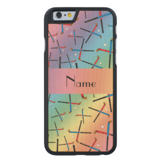 Personalized name rainbow field hockey pattern carved® maple iPhone 6 case
