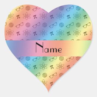 Personalized name rainbow geek pattern heart sticker