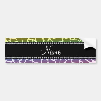 Personalized name rainbow giraffe pattern bumper stickers