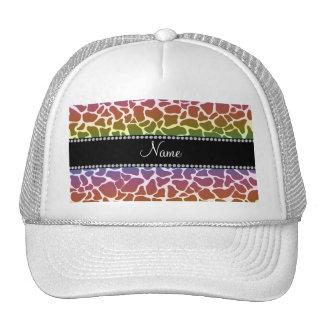 Personalized name rainbow giraffe pattern mesh hat